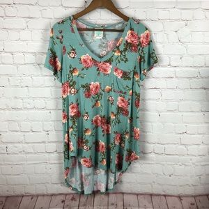 Freeloader Teal and Pink Vneck Floral Tee
